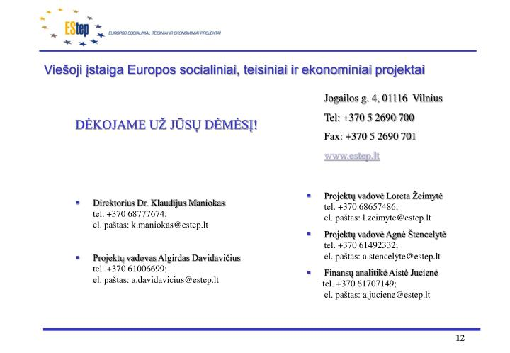 Viešoji įstaiga Europos socialiniai, teisiniai ir ekonominiai projektai