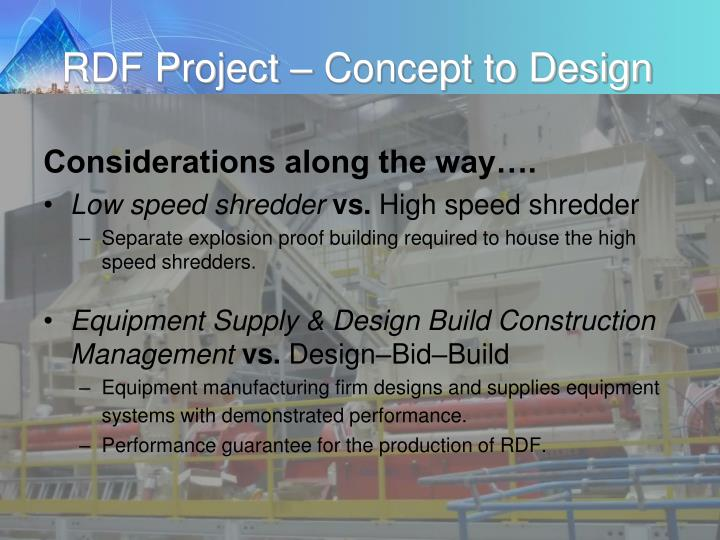 RDF Project – Concept to Design