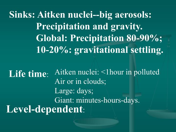 Sinks: Aitken nuclei--big aerosols: