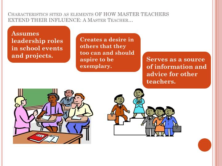 Characteristics sited as elements OF HOW MASTER TEACHERS EXTEND THEIR INFLUENCE: A Master Teacher…