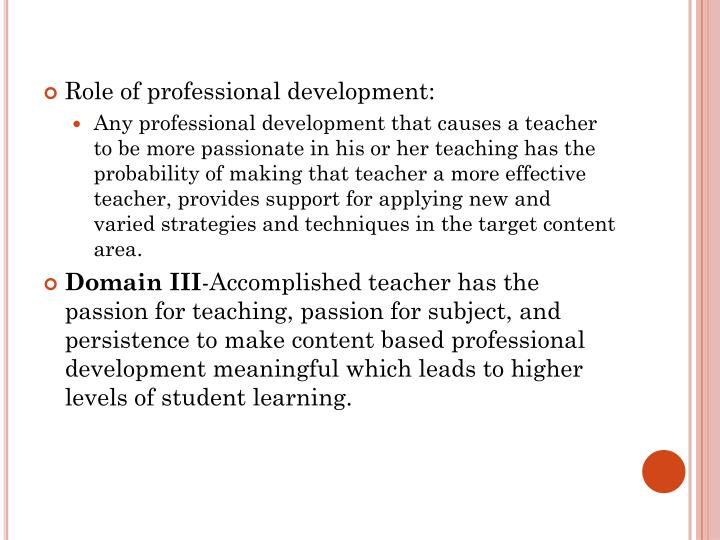 Role of professional development:
