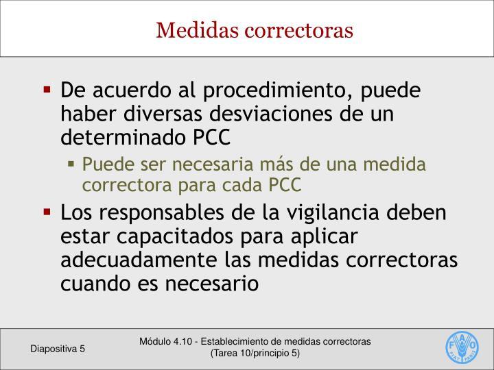De acuerdo al procedimiento, puede haber diversas desviaciones de un determinado PCC