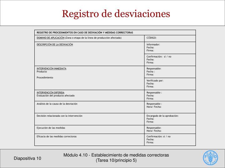 Registro de desviaciones