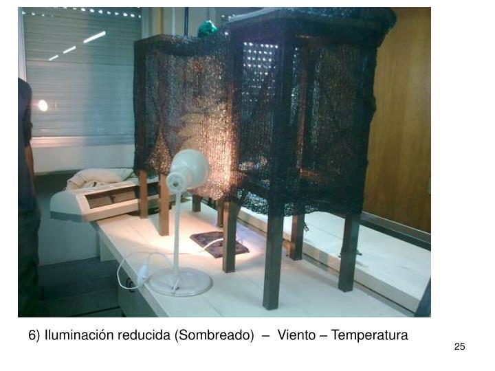 6) Iluminación reducida (Sombreado)  –  Viento – Temperatura