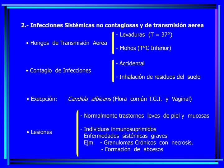 2.- Infecciones Sistémicas no contagiosas y de transmisión aerea