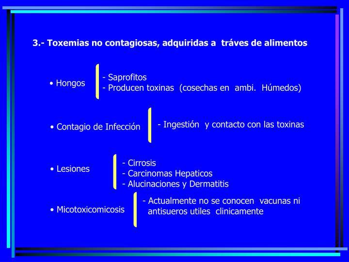 3.- Toxemias no contagiosas, adquiridas a  tráves de alimentos