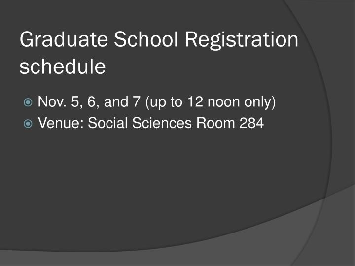 Graduate School Registration schedule