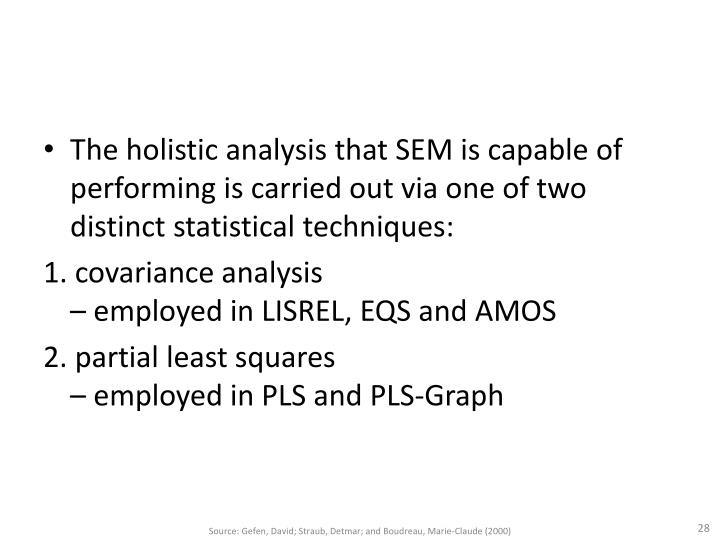The holistic analysis that SEM is capable of performing is carried out via one of two distinct statistical techniques: