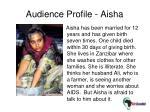 audience profile aisha