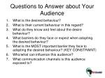 questions to answer about your audience