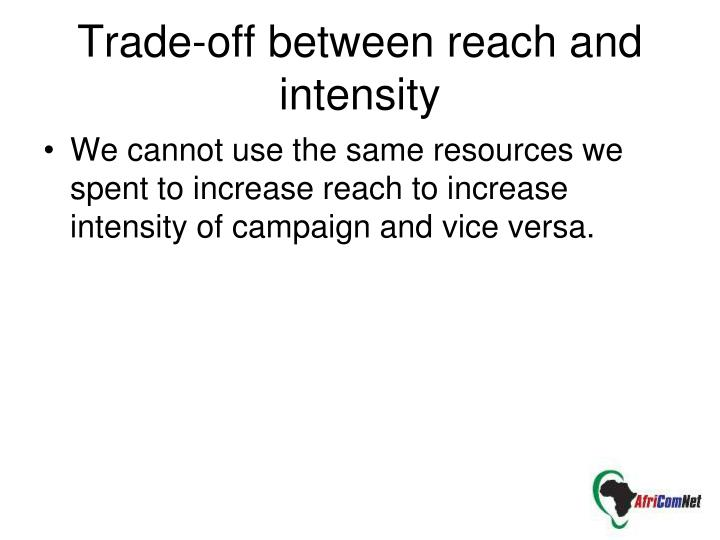 We cannot use the same resources we spent to increase reach to increase intensity of campaign and vice versa.