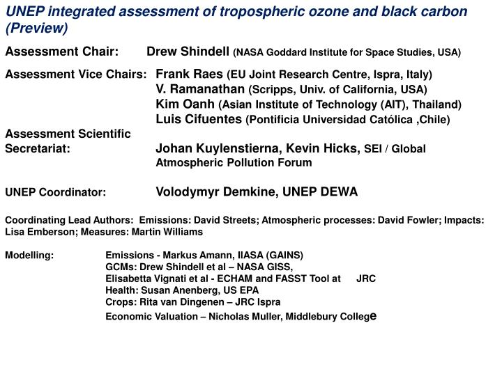 UNEP integrated assessment of tropospheric ozone and black carbon (Preview)