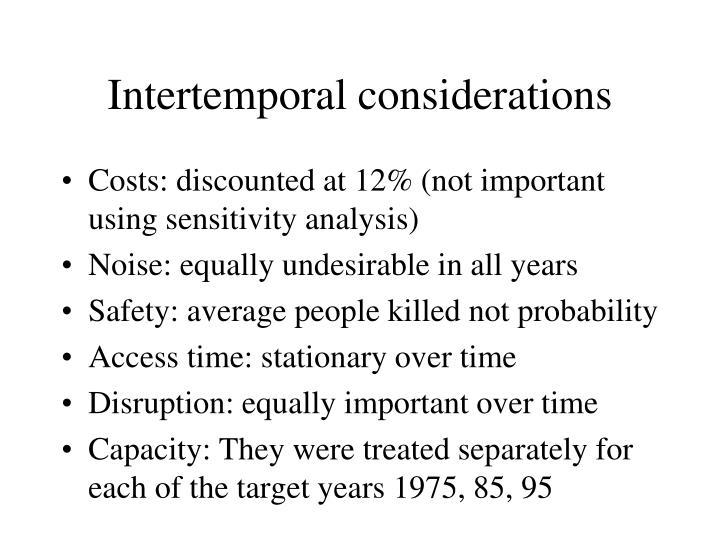 Intertemporal considerations