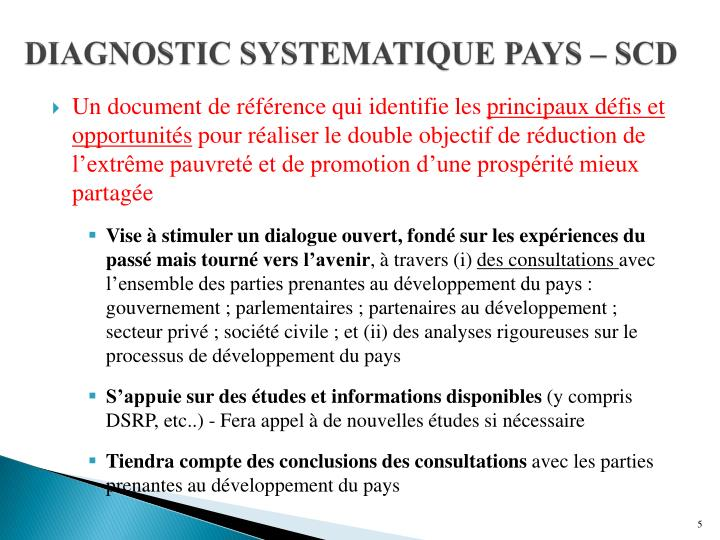DIAGNOSTIC SYSTEMATIQUE PAYS – SCD