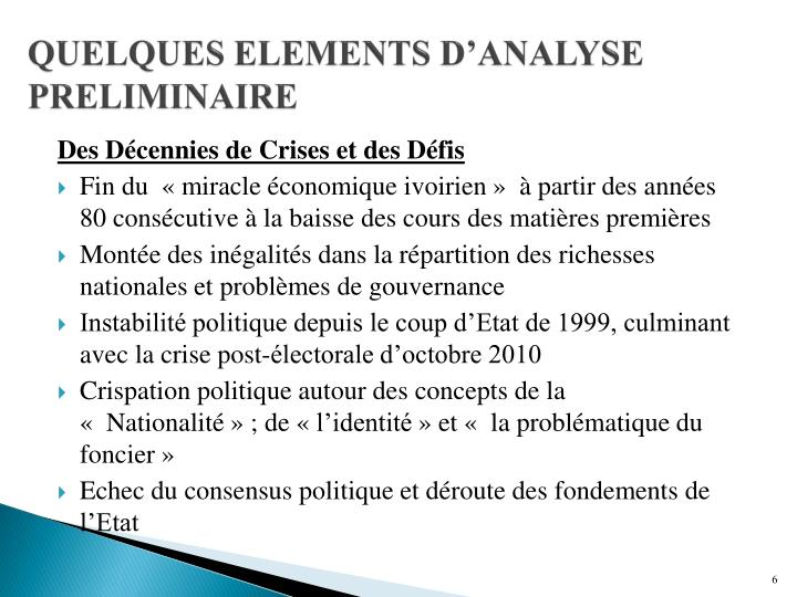 QUELQUES ELEMENTS D'ANALYSE PRELIMINAIRE