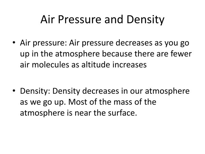 Air Pressure and Density