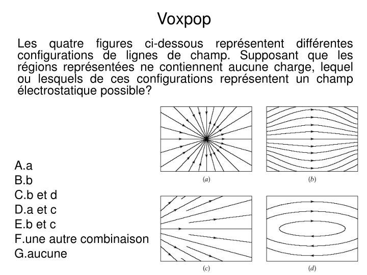 Les quatre figures ci-dessous représentent différentes configurations de lignes de champ. Supposant que les régions représentées ne contiennent aucune charge, lequel ou lesquels de ces configurations représentent un champ électrostatique possible?