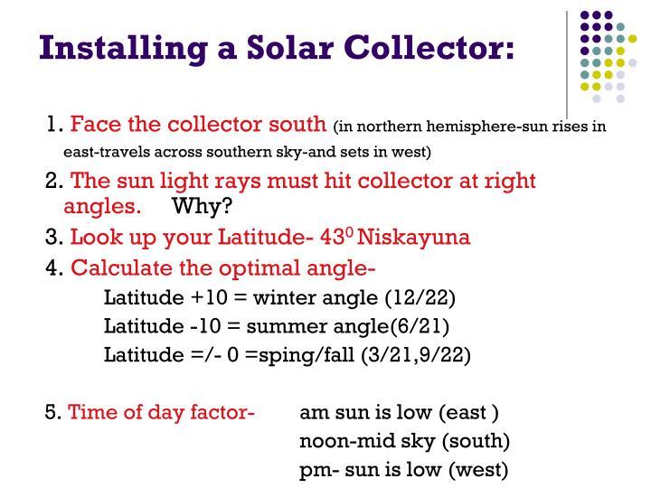 Installing a Solar Collector: