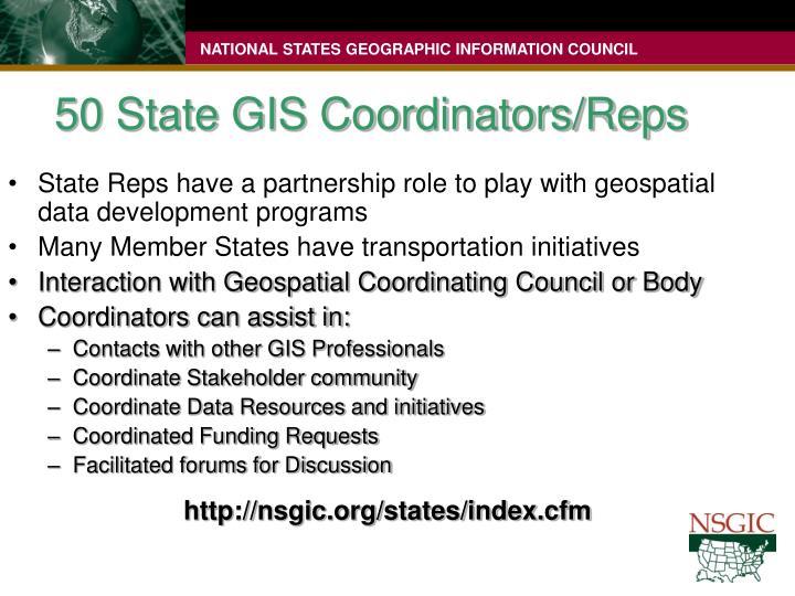 50 State GIS Coordinators/Reps
