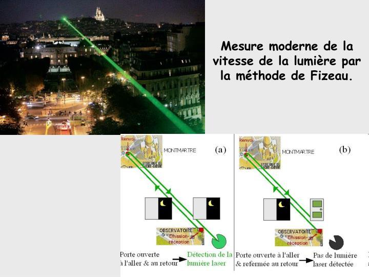 Mesure moderne de la vitesse de la lumière par la méthode de Fizeau.