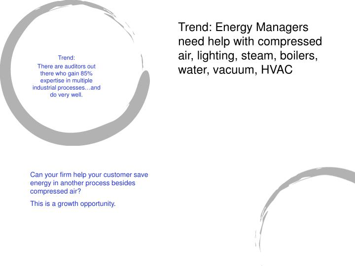 Trend: Energy Managers need help with compressed air, lighting, steam, boilers, water, vacuum, HVAC