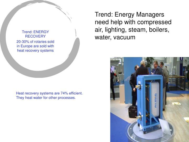 Trend: Energy Managers need help with compressed air, lighting, steam, boilers, water, vacuum