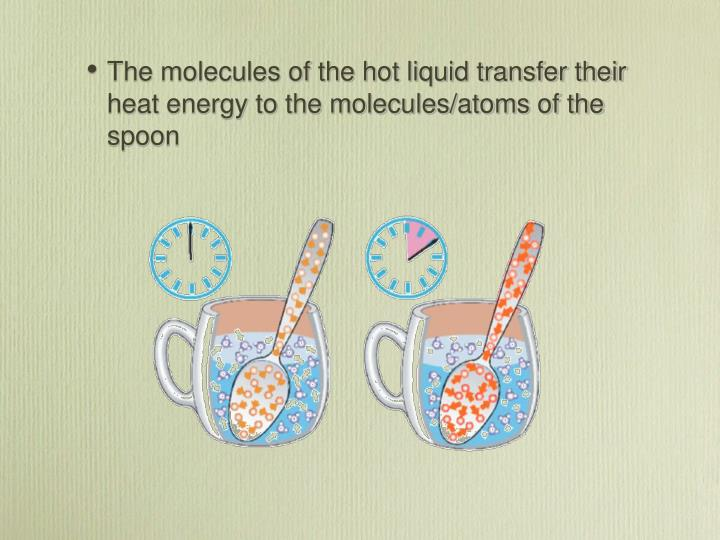 The molecules of the hot liquid transfer their heat energy to the molecules/atoms of the spoon