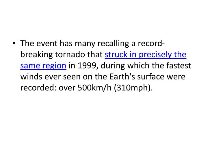 The event has many recalling a record-breaking tornado that