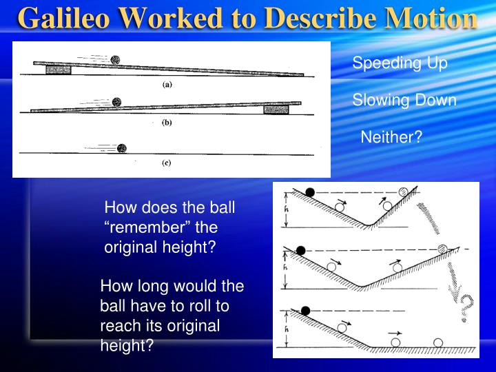 Galileo Worked to Describe Motion