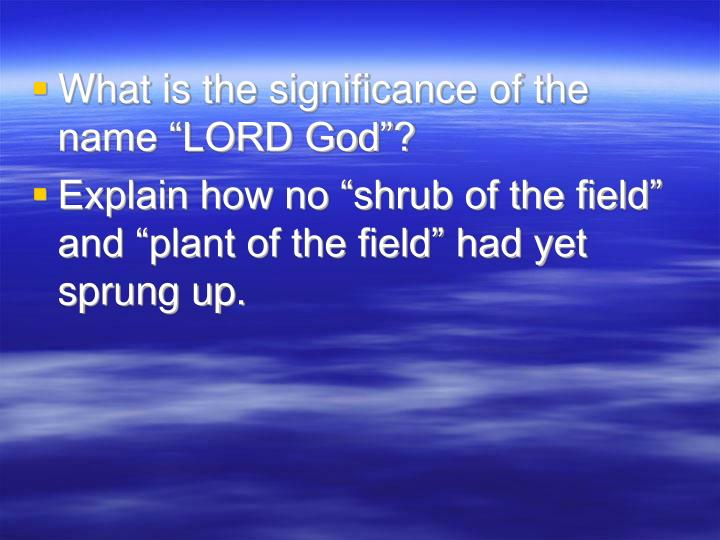 "What is the significance of the name ""LORD God""?"