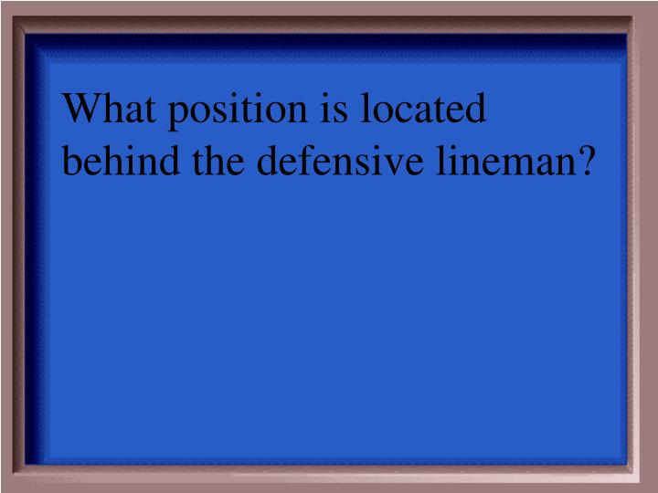 What position is located behind the defensive lineman?