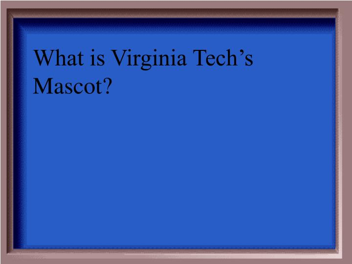 What is Virginia Tech's Mascot?