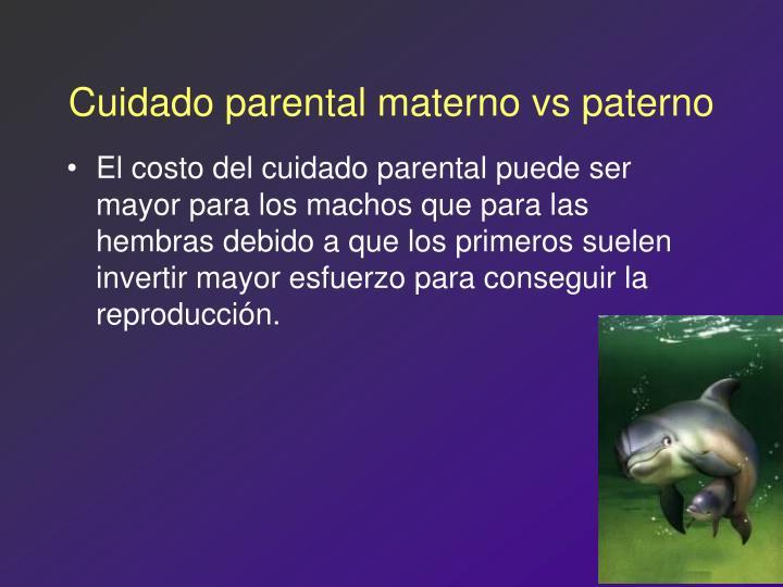 Cuidado parental materno vs paterno