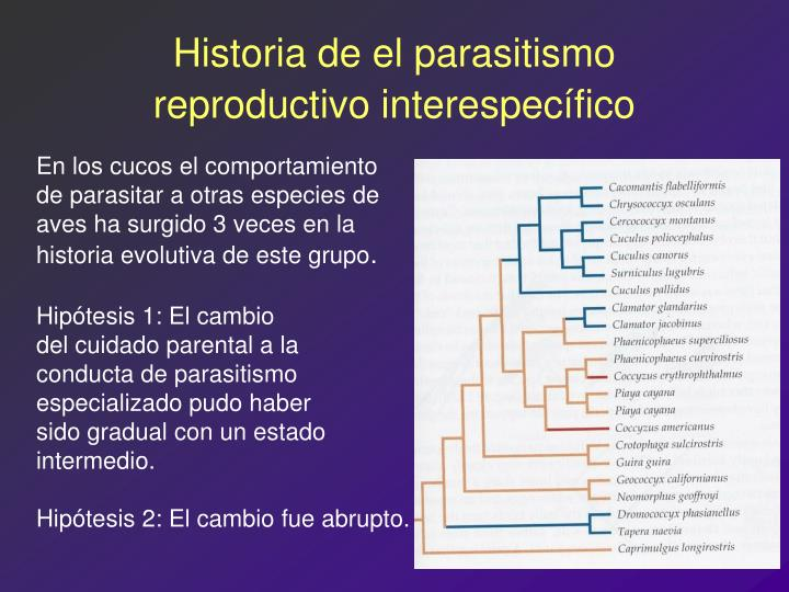 Historia de el parasitismo reproductivo interespecífico