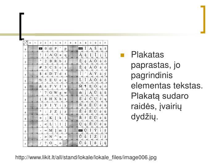 Plakatas paprastas, jo pagrindinis elementas tekstas. Plakat sudaro raids, vairi dydi.