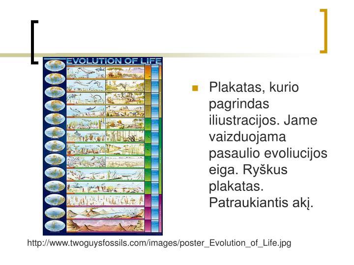 Plakatas, kurio pagrindas iliustracijos. Jame vaizduojama pasaulio evoliucijos eiga. Rykus plakatas. Patraukiantis ak.