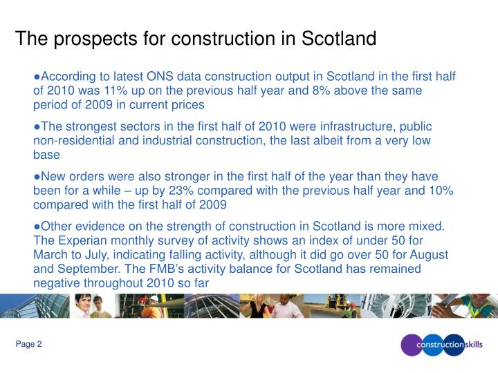 The prospects for construction in scotland