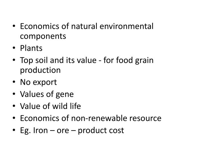 Economics of natural environmental components