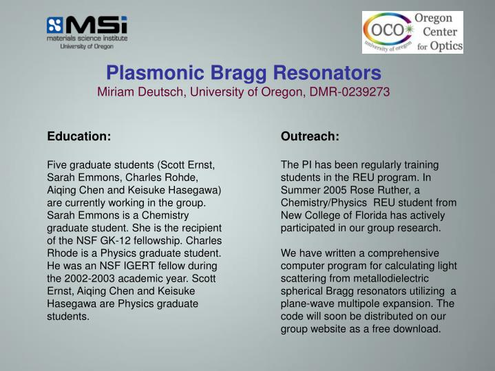 Plasmonic Bragg Resonators