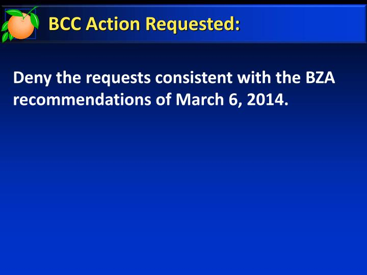 BCC Action Requested:
