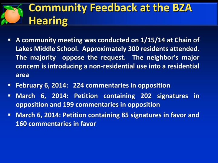 Community Feedback at the BZA Hearing