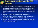 community feedback at the bza hearing