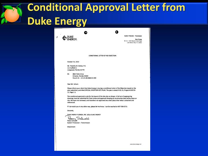 Conditional Approval Letter from Duke Energy