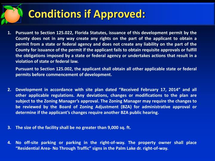 Conditions if Approved: