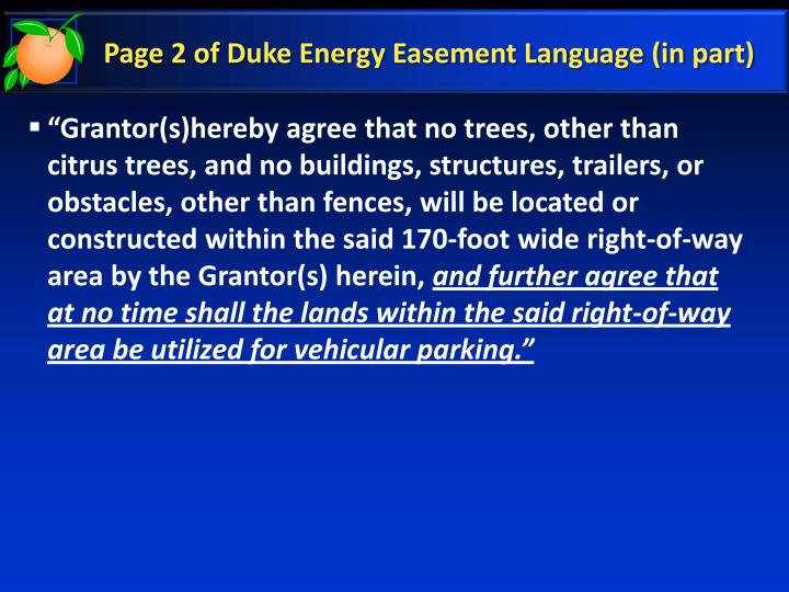 Page 2 of Duke Energy Easement Language (in part)
