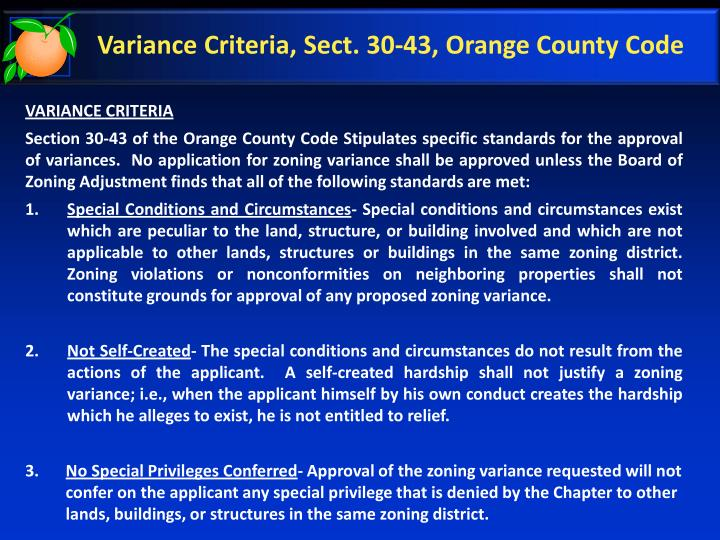 Variance Criteria, Sect. 30-43, Orange County Code