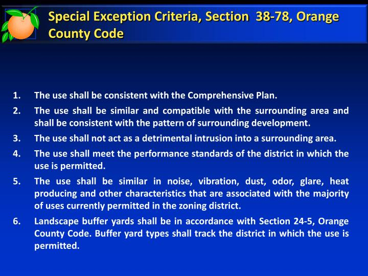 Special exception criteria section 38 78 orange county code