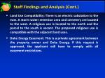 staff findings and analysis cont