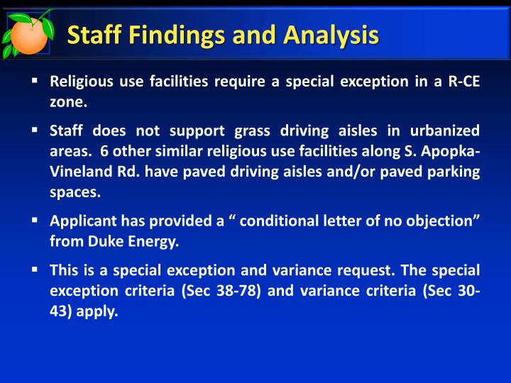 Staff Findings and Analysis