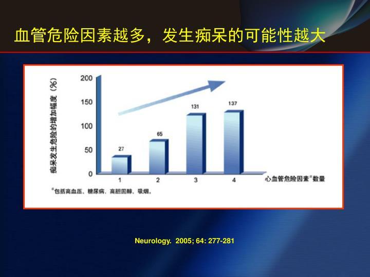 血管危险因素越多,发生痴呆的可能性越大